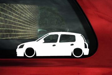 2x Low car outline stickers - Renault Clio mk2 facelift 5-Door